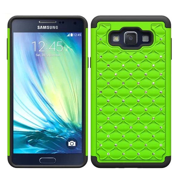 Bling Bling Crystal Design Silicone and PC Hybrid Cell Phone case for Samsung Galaxy A7 (Lime)