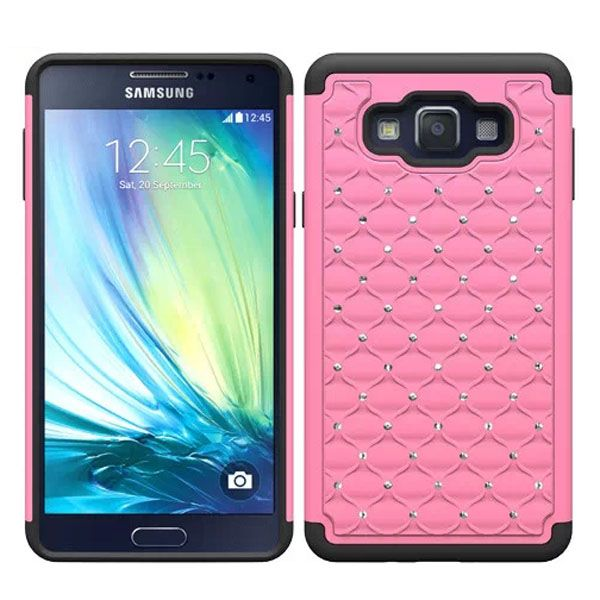 Bling Bling Crystal Design Silicone and PC Hybrid Cell Phone case for Samsung Galaxy A7 (Pink)