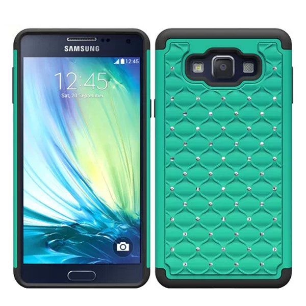 Bling Bling Crystal Design Silicone and PC Hybrid Cell Phone case for Samsung Galaxy A7 (Green)