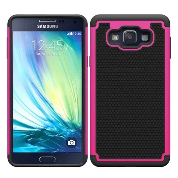 Football Texture Anti Skid Rugged Silicone+PC Protective Case Hybrid for Samsung Galaxy A7 (Rose)