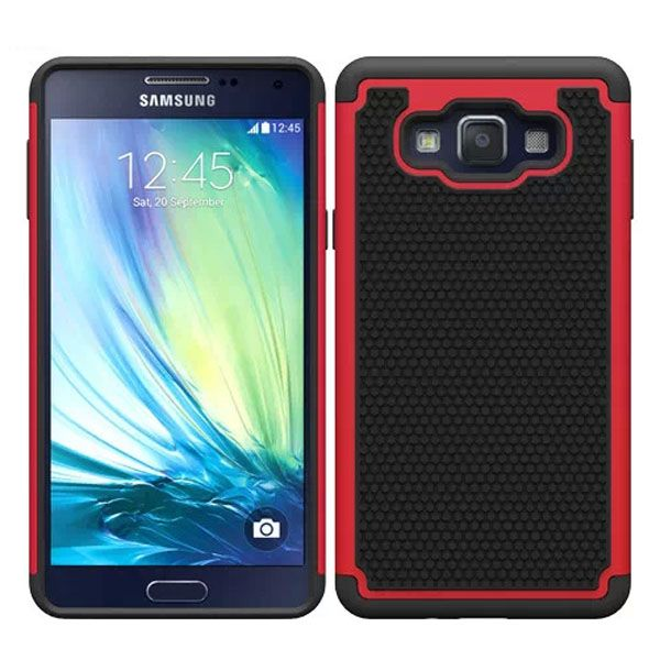 Football Texture Anti Skid Rugged Silicone+PC Protective Case Hybrid for Samsung Galaxy A7 (Red)