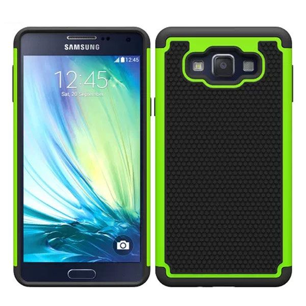 Football Texture Anti Skid Rugged Silicone+PC Protective Case Hybrid for Samsung Galaxy A7 (Lime)