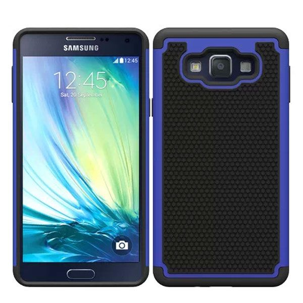 Football Texture Anti Skid Rugged Silicone+PC Protective Case Hybrid for Samsung Galaxy A7 (Blue)