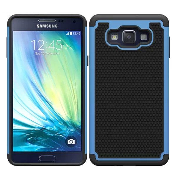 Football Texture Anti Skid Rugged Silicone+PC Protective Case Hybrid for Samsung Galaxy A7 (Light Blue)