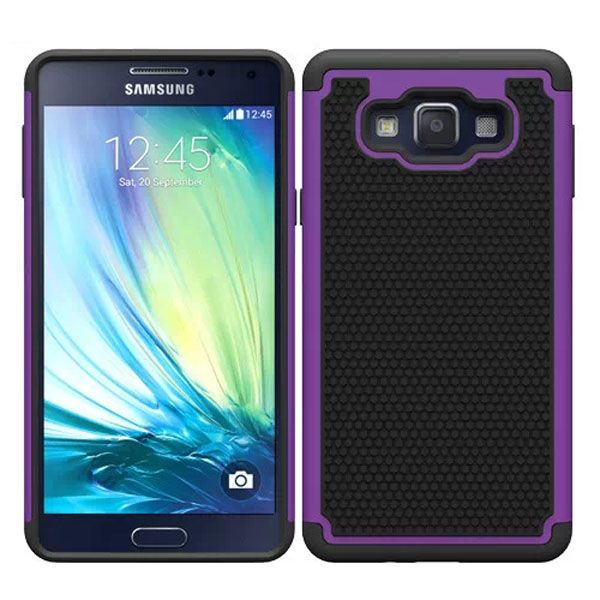 Football Texture Anti Skid Rugged Silicone+PC Protective Case Hybrid for Samsung Galaxy A7 (Purple)