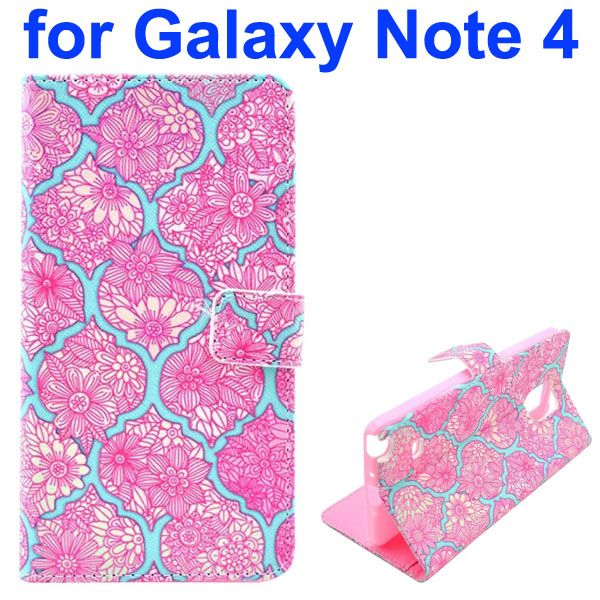 Color Painting Pattern Wallet PU Leather Case Back Cover for Samsung Galaxy Note 4 (Cluster Flowers)