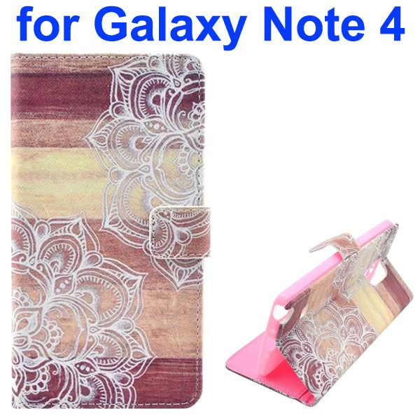 Color Painting Pattern Wallet PU Leather Case Back Cover for Samsung Galaxy Note 4 (White Flowers)