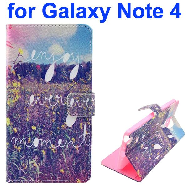 Color Painting Pattern Wallet PU Leather Case Back Cover for Samsung Galaxy Note 4 (Yellow Flower)
