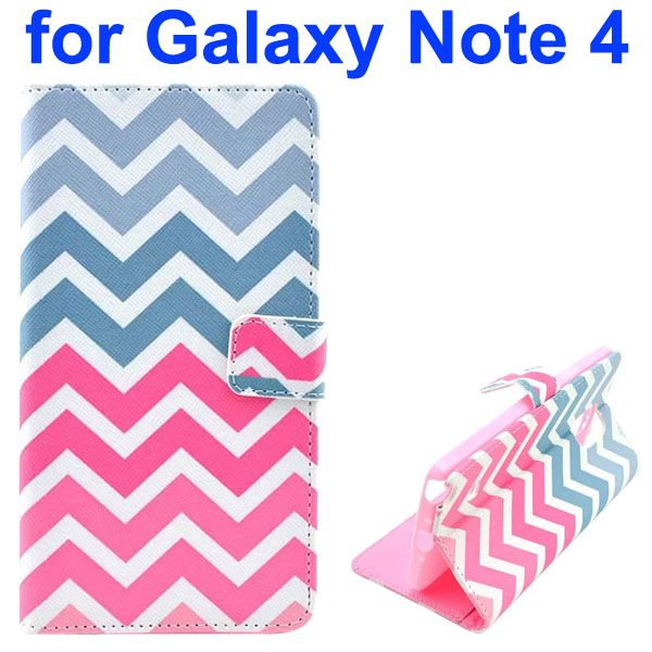 Color Painting Pattern Wallet PU Leather Case Back Cover for Samsung Galaxy Note 4 (Grey and Pink Wave)