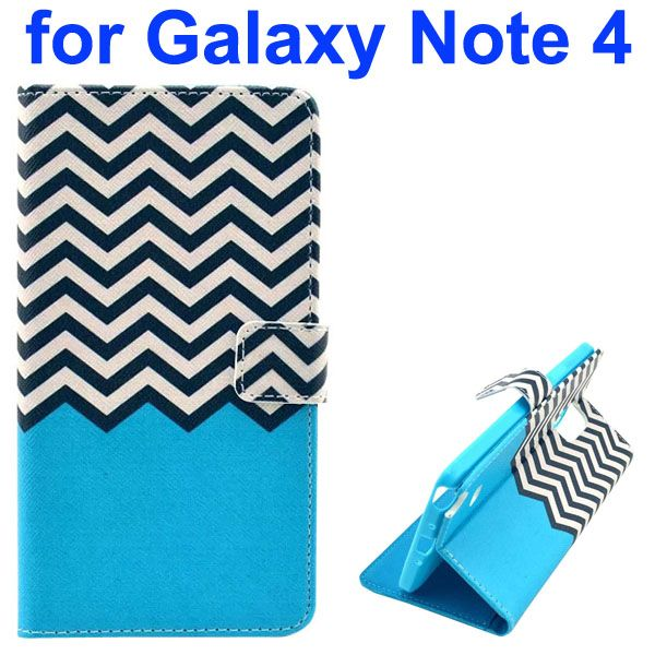 Color Painting Pattern Wallet PU Leather Case Back Cover for Samsung Galaxy Note 4 (White and Black Wave)