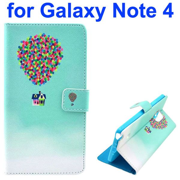 Color Painting Pattern Wallet PU Leather Case Back Cover for Samsung Galaxy Note 4 (Flying House)