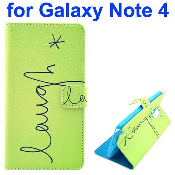 Color Painting Pattern Wallet PU Leather Case Back Cover for Samsung Galaxy Note 4 (Letters)