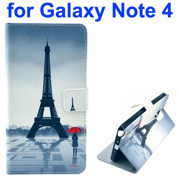 Color Painting Pattern Wallet PU Leather Case Back Cover for Samsung Galaxy Note 4 (Eiffel Tower)