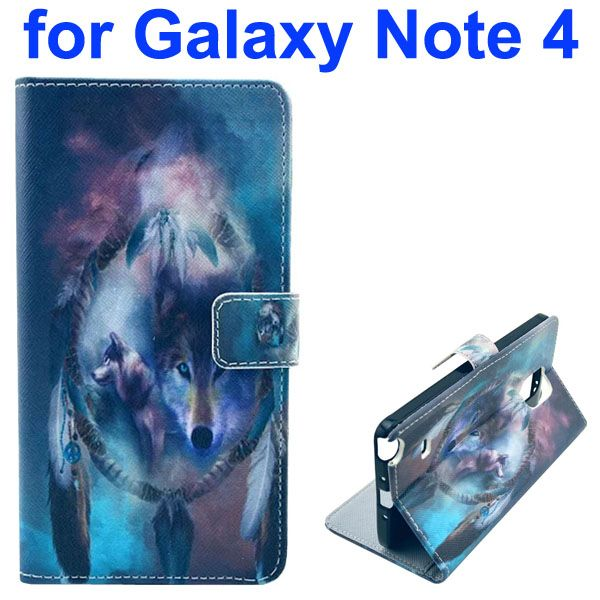 Color Painting Pattern Wallet PU Leather Case Back Cover for Samsung Galaxy Note 4 (Wolf)