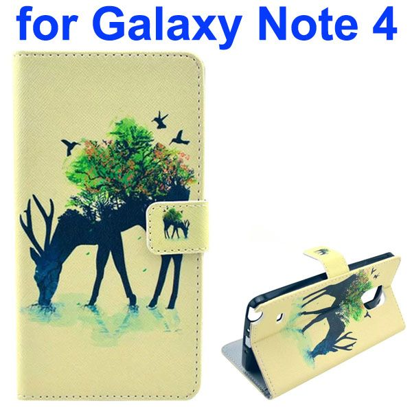 Color Painting Pattern Wallet PU Leather Case Back Cover for Samsung Galaxy Note 4 (Deer)