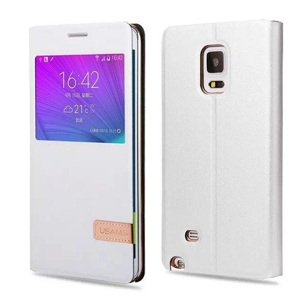 USAMS Muge Series Flip PU Leather Case for Samsung Galaxy Note Edge (White)