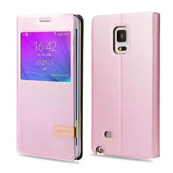 USAMS Muge Series Flip PU Leather Case for Samsung Galaxy Note Edge (Pink)
