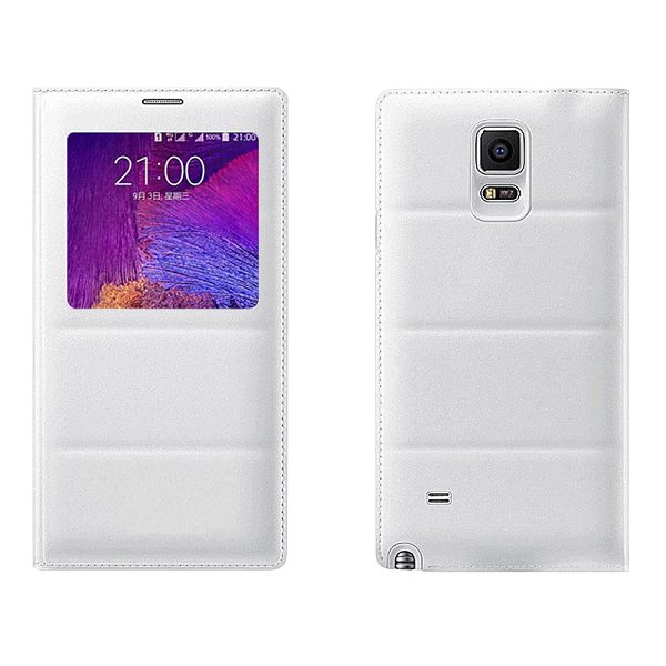Top Grade PU Leather Battery Back Housing Cover for Samsung Galaxy Note 4 (White)