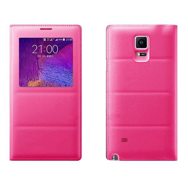 Top Grade PU Leather Battery Back Housing Cover for Samsung Galaxy Note 4 (Rose)