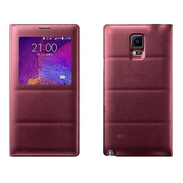 Top Grade PU Leather Battery Back Housing Cover for Samsung Galaxy Note 4 (Red)