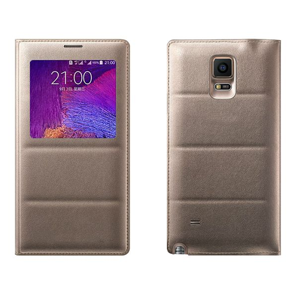 Top Grade PU Leather Battery Back Housing Cover for Samsung Galaxy Note 4 (Gold)