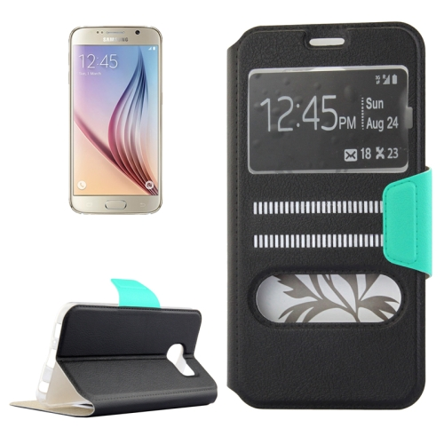 Mix Color Flip Wallet Case for Samsung Galaxy S6 with Caller ID Display Window (Black)