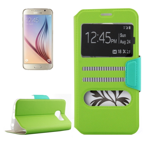Mix Color Flip Wallet Case for Samsung Galaxy S6 with Caller ID Display Window (Green)