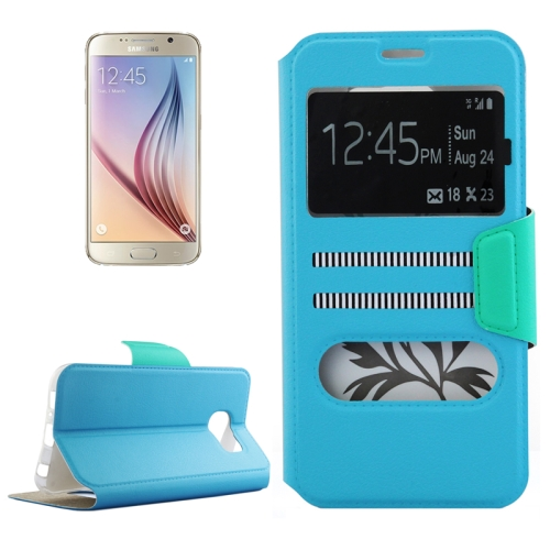 Mix Color Flip Wallet Case for Samsung Galaxy S6 with Caller ID Display Window (Blue)