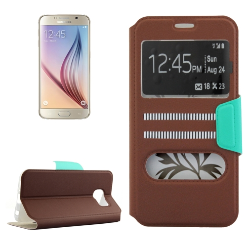Mix Color Flip Wallet Case for Samsung Galaxy S6 with Caller ID Display Window (Brown)