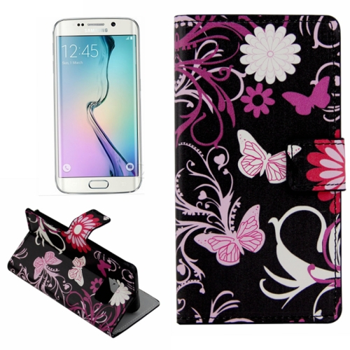Plain Weave Texture Flip Wallet Leather Case for Samsung Galaxy S6 Edge (Butterfly Pattern)