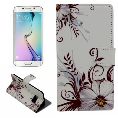 Plain Weave Texture Flip Wallet Leather Case for Samsung Galaxy S6 Edge (Two Flowers Pattern)