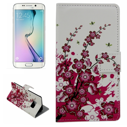 Plain Weave Texture Flip Wallet Leather Case for Samsung Galaxy S6 Edge (Plum Blossom Pattern)