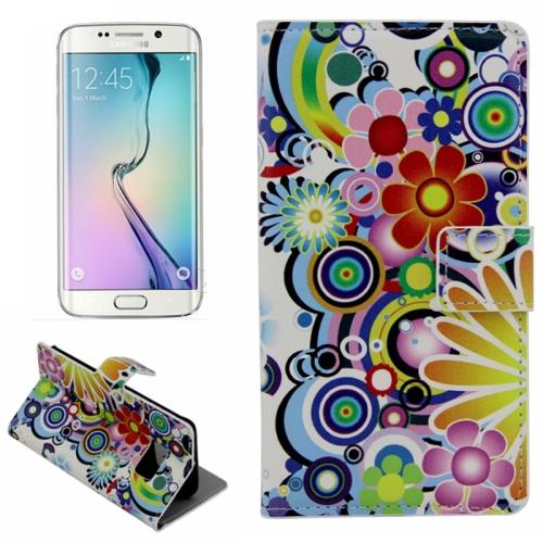 Plain Weave Texture Flip Wallet Leather Case for Samsung Galaxy S6 Edge (Flower Pattern)