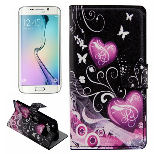 Plain Weave Texture Flip Wallet Leather Case for Samsung Galaxy S6 Edge (Two Hearts Pattern)