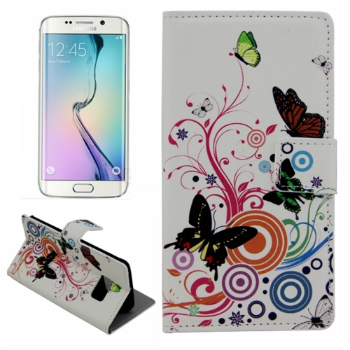 Plain Weave Texture Flip Wallet Leather Case for Samsung Galaxy S6 Edge (Colorful Butterfly Pattern)