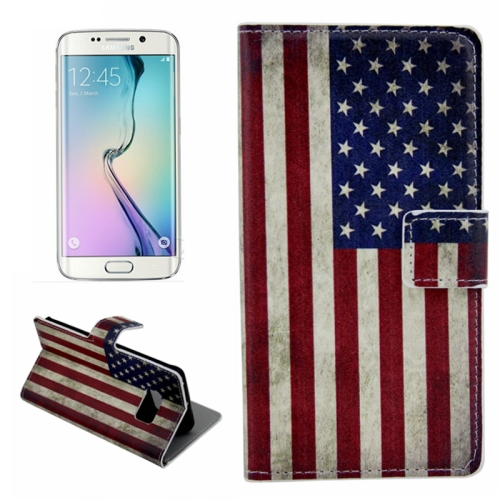 Plain Weave Texture Flip Wallet Leather Case for Samsung Galaxy S6 Edge (Retro US Flag Pattern)