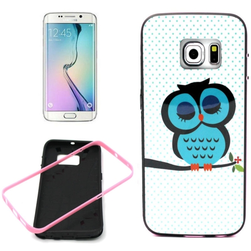 Bumper Frame Soft Protective TPU Case Cover for Samsung Galaxy S6 Edge (Owl Pattern)