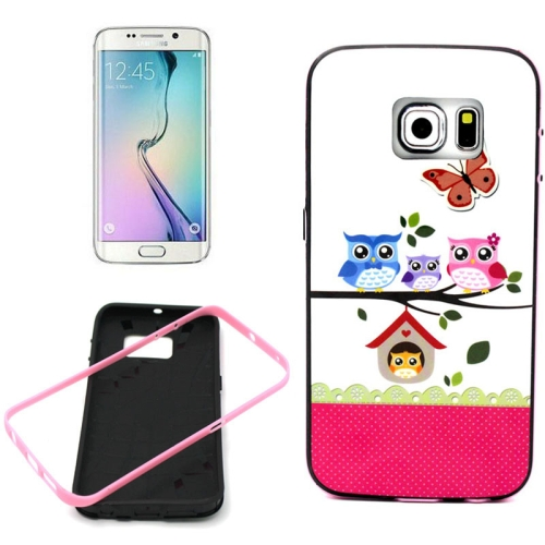 Bumper Frame Soft Protective TPU Case Cover for Samsung Galaxy S6 Edge (Owl Family Pattern)
