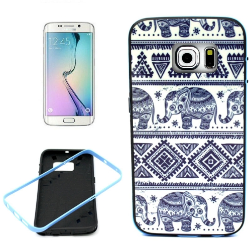 Bumper Frame Soft Protective TPU Case Cover for Samsung Galaxy S6 Edge (Elephant Pattern)