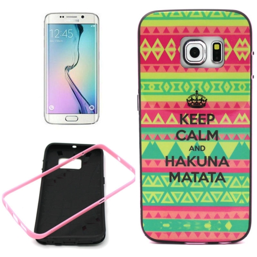 Bumper Frame Soft Protective TPU Case Cover for Samsung Galaxy S6 Edge (Letter Pattern)