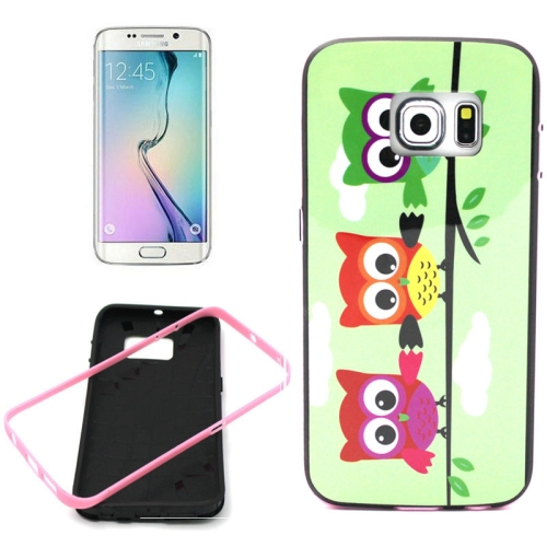 Bumper Frame Soft Protective TPU Case Cover for Samsung Galaxy S6 Edge (Three Owls Pattern)