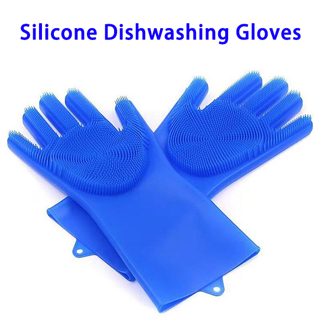 FDA Reusable Dish Wash Scrubbing Sponge Silicone Cleaning Gloves (Dark Blue)