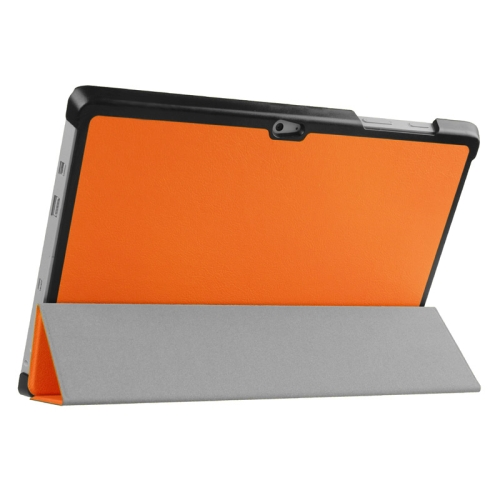 Top Selling 3 Folding Flip Stand Leather Tablet Case for Microsoft Surface 3 (Orange)