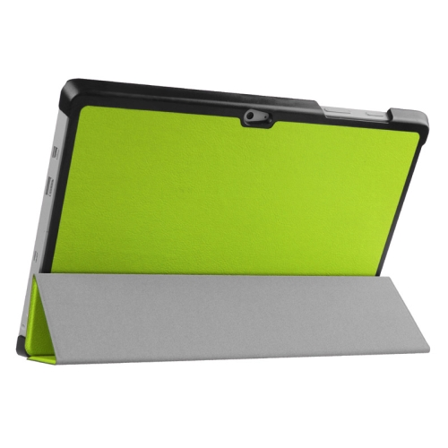 Top Selling 3 Folding Flip Stand Leather Tablet Case for Microsoft Surface 3 (Green)