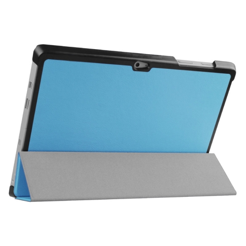 Top Selling 3 Folding Flip Stand Leather Tablet Case for Microsoft Surface 3 (Blue)
