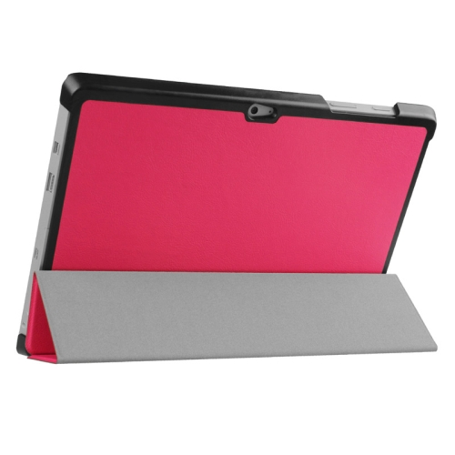 Top Selling 3 Folding Flip Stand Leather Tablet Case for Microsoft Surface 3 (Rose)