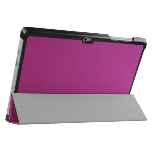 Top Selling 3 Folding Flip Stand Leather Tablet Case for Microsoft Surface 3 (Purple)
