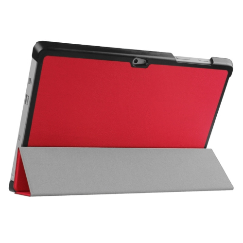 Top Selling 3 Folding Flip Stand Leather Tablet Case for Microsoft Surface 3 (Red)