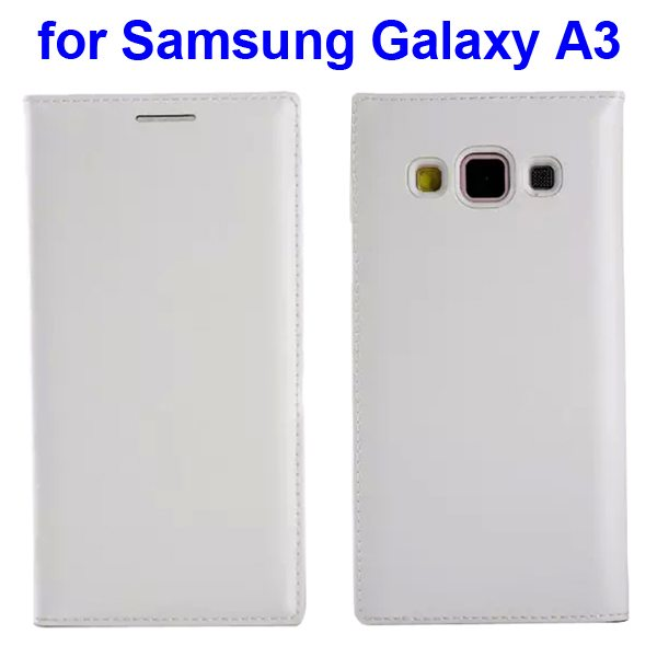 Official Style Protective Leather Case for Samsung Galaxy A3 with Stand (White)