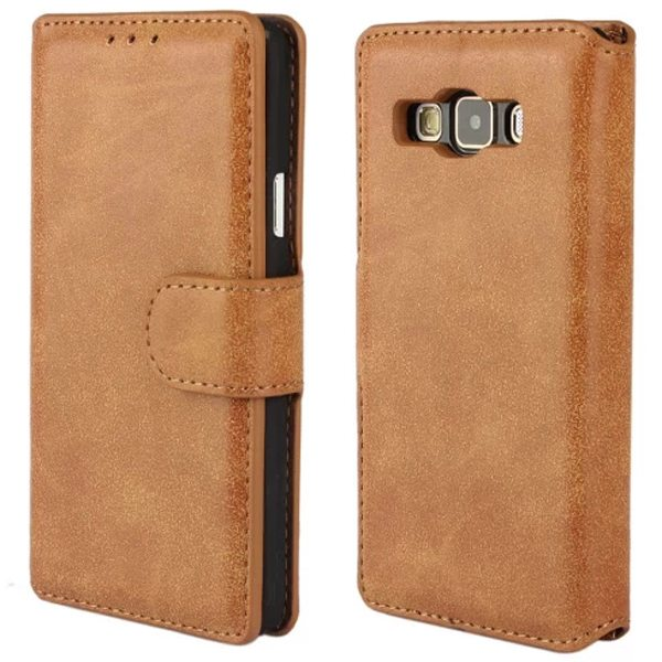 Retro Frosted Style PU Wallet Leather Flip Cover for Samsung Galaxy A3 (Brown)